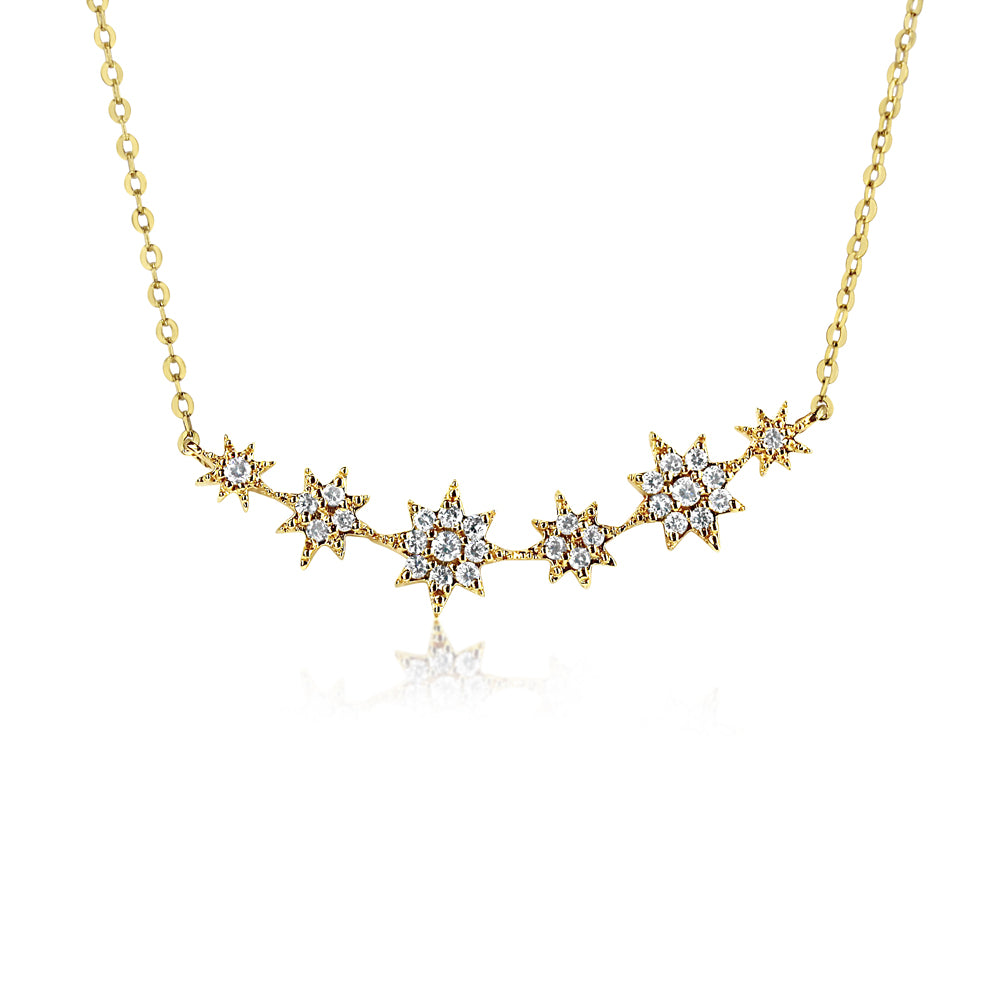 Six Diamond Starburst Necklace Yellow Gold