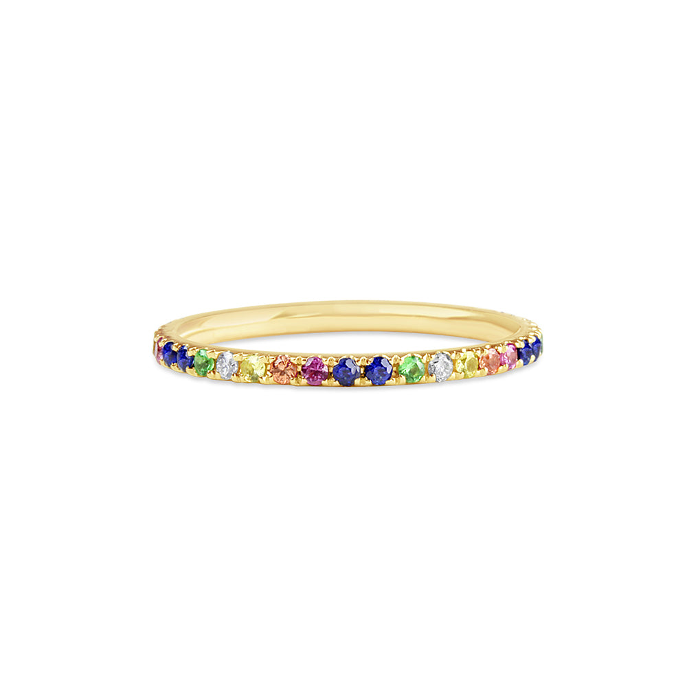 Rainbow Eternity Band Yellow Gold