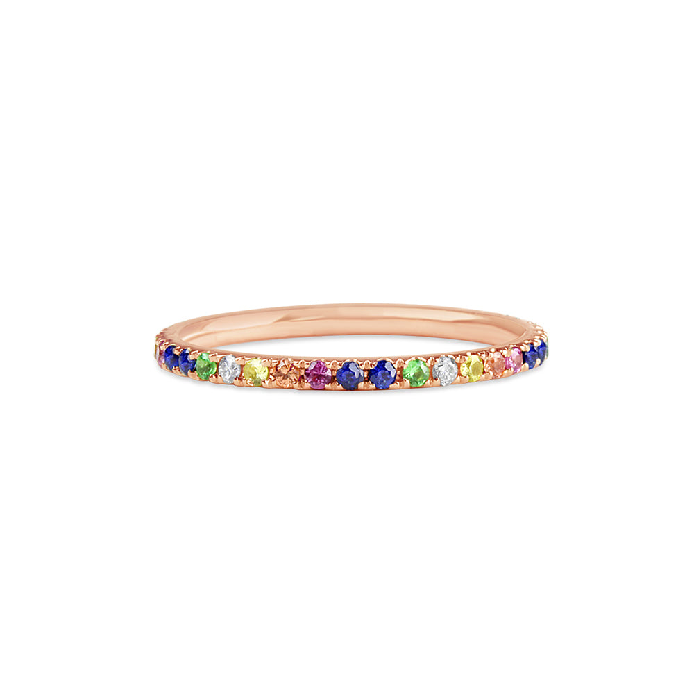Rainbow Eternity Band Rose Gold