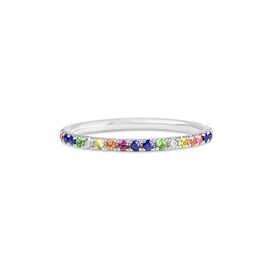 Rainbow Eternity Band White Gold