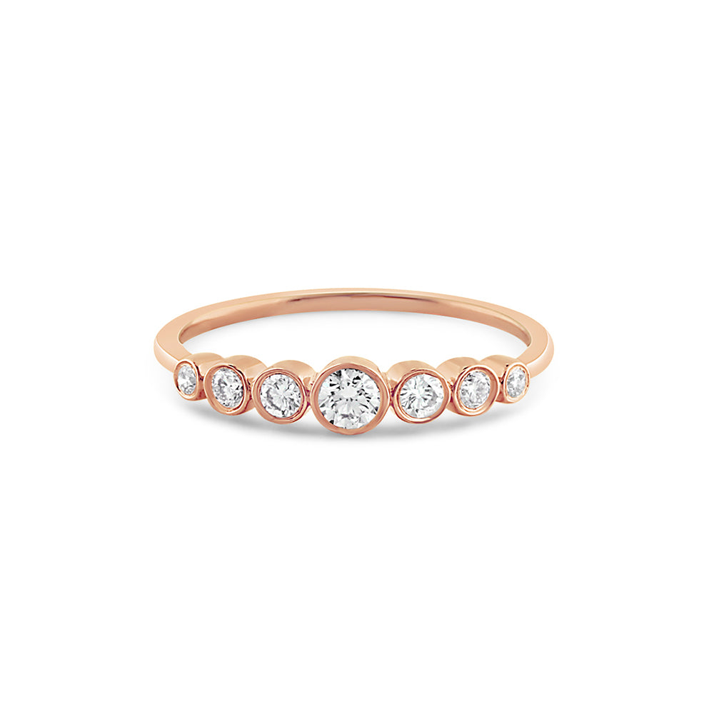Graduated Seven Diamond Bezel Ring Rose Gold
