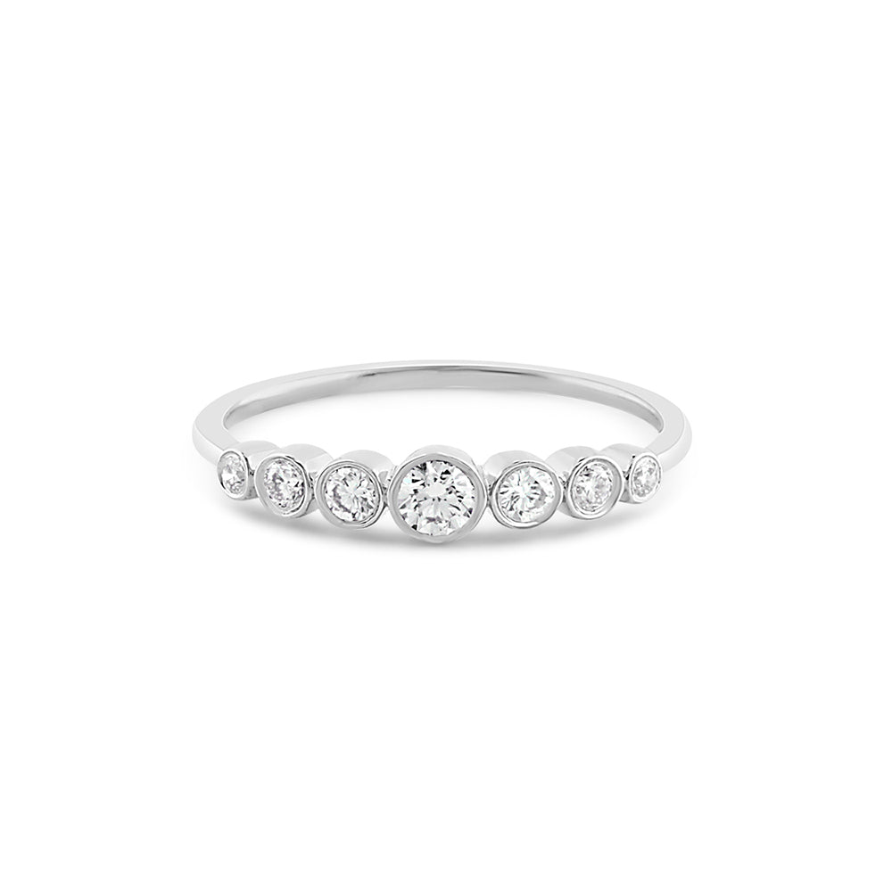 Graduated Seven Diamond Bezel Ring White Gold