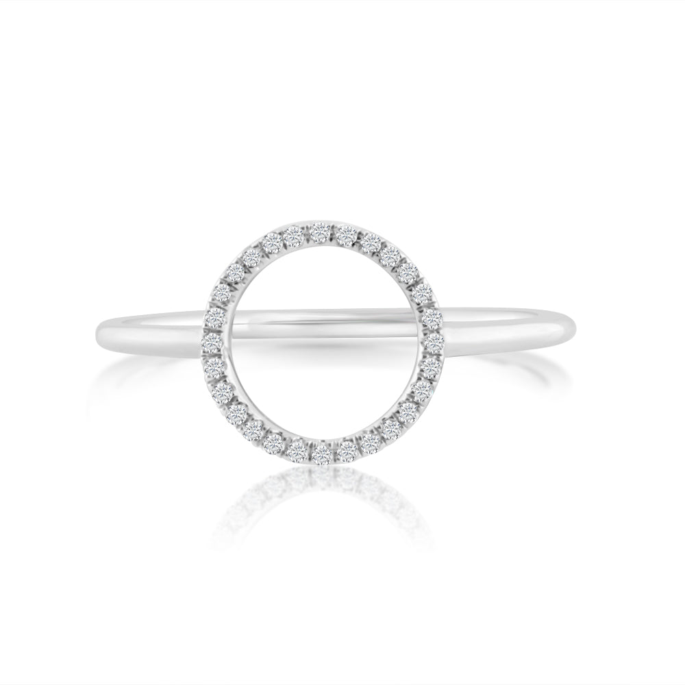 Diamond Circle Ring White Gold