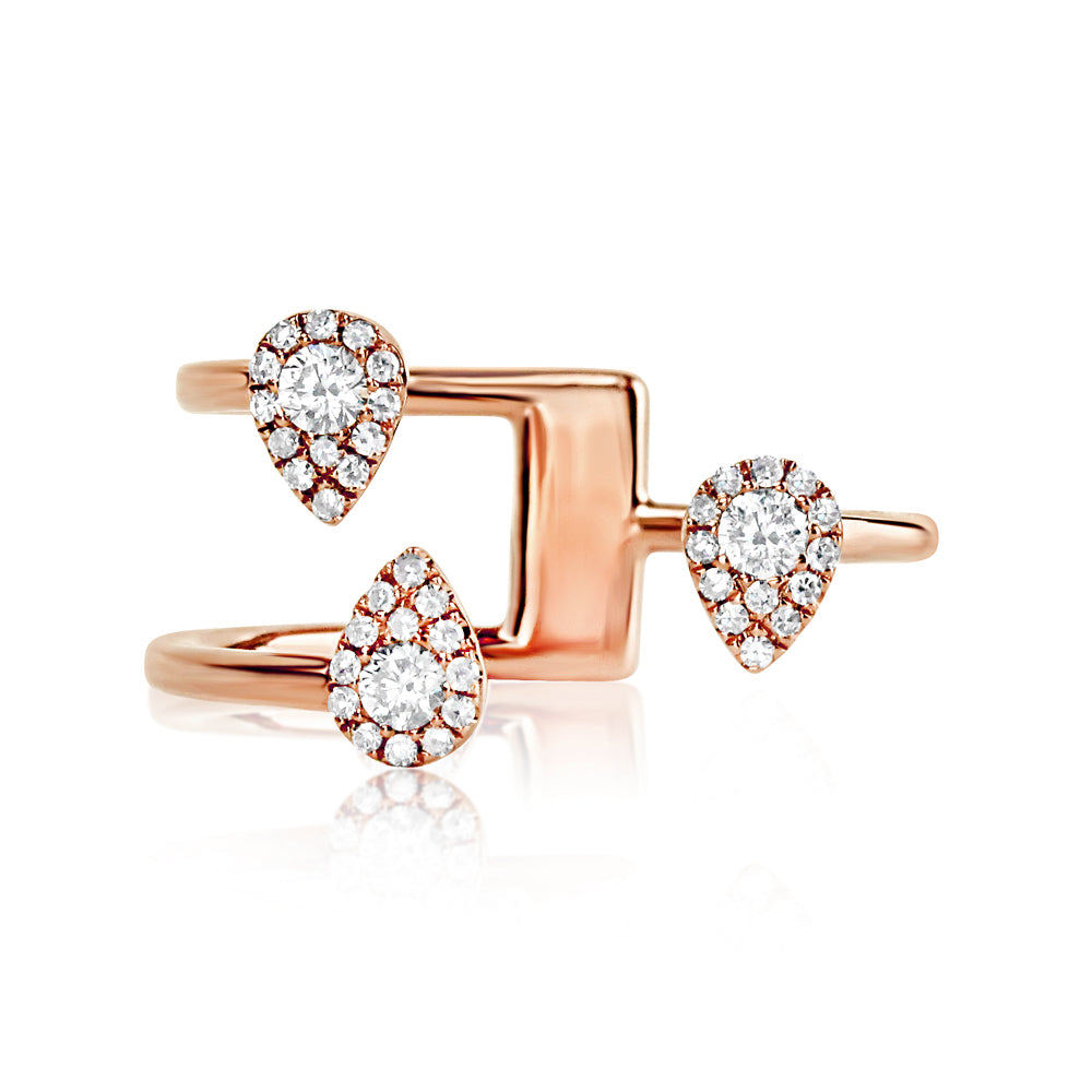 Three Diamond Drops Ring Rose Gold