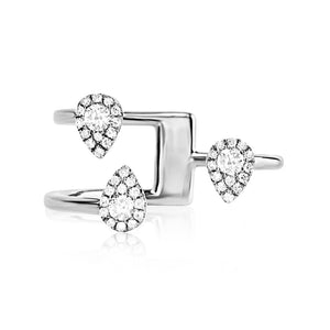 Three Diamond Drops Ring White Gold
