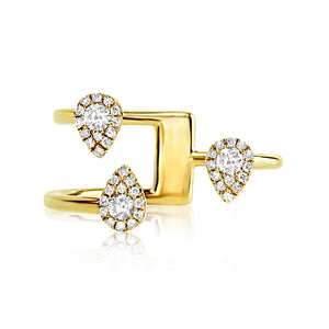 Three Diamond Drops Ring Yellow Gold