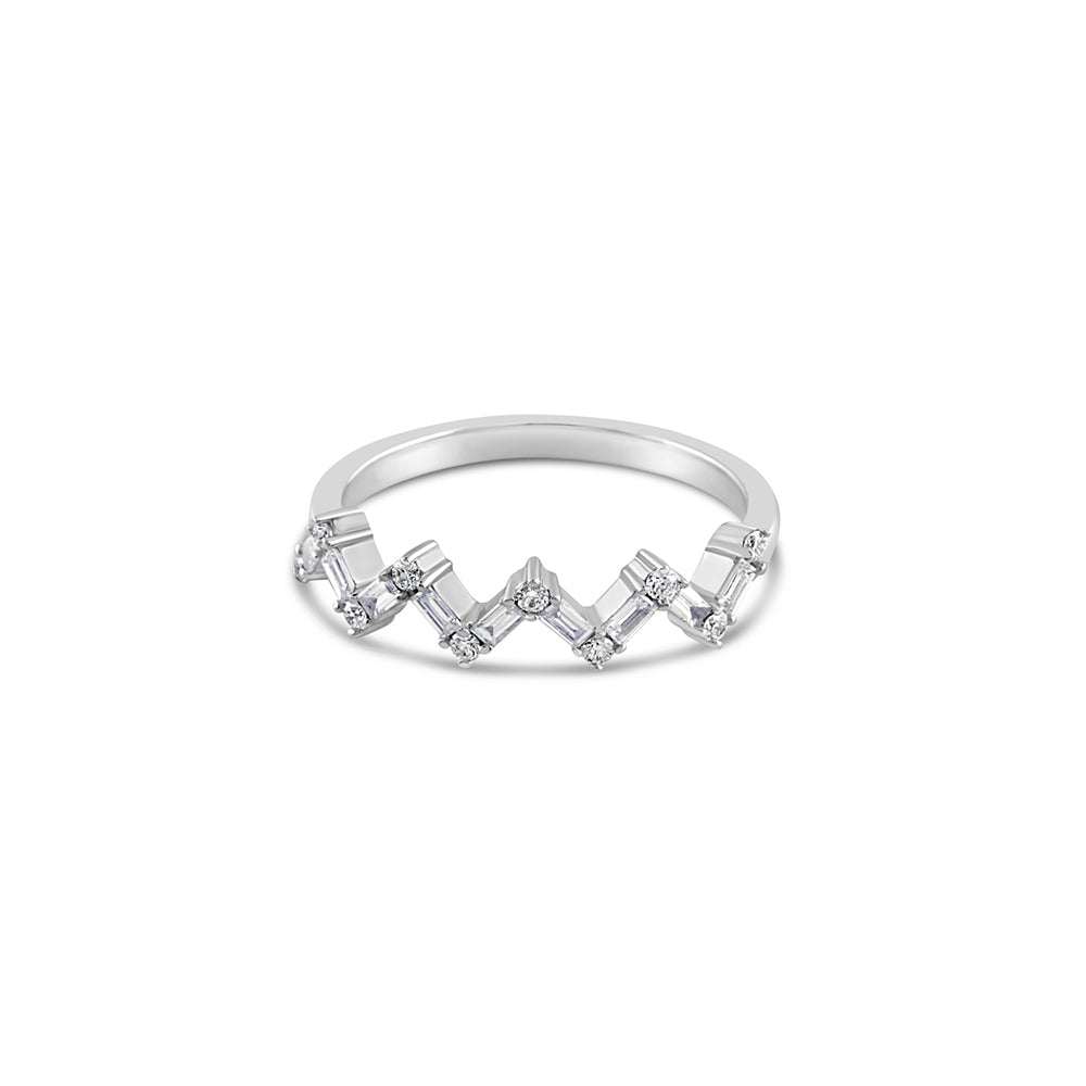 Baguette and Round Diamond Zig Zag Ring White Gold