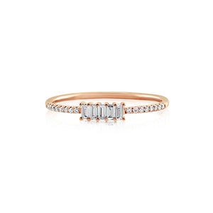 Five Baguette Diamond Ring Rose Gold