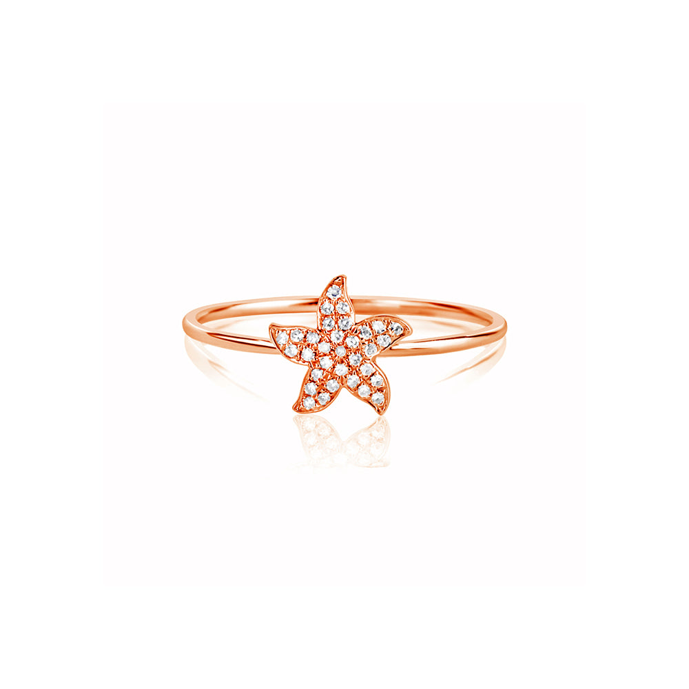 Diamond Starfish Ring Rose Gold