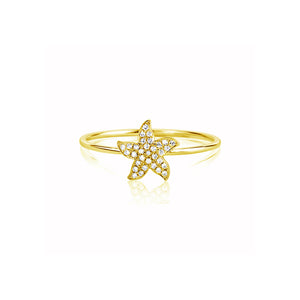 Diamond Starfish Ring Yellow Gold