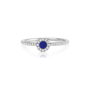 Diamond and Lapis Disc Ring White Gold