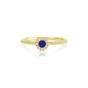 Diamond and Lapis Disc Ring Yellow Gold