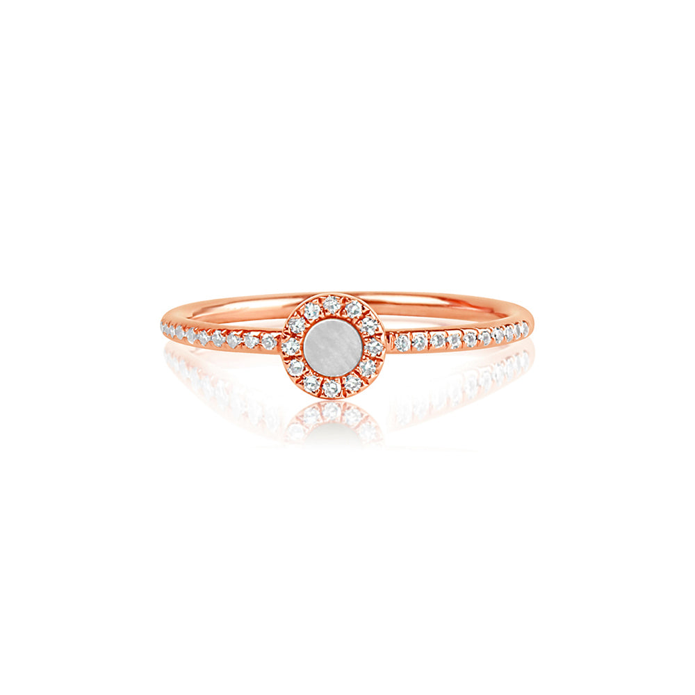 Diamond and Mother of Pearl Disc Ring Rose Gold