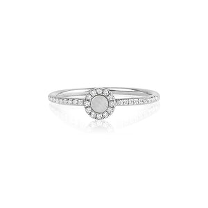 Diamond and Mother of Pearl Disc Ring White Gold