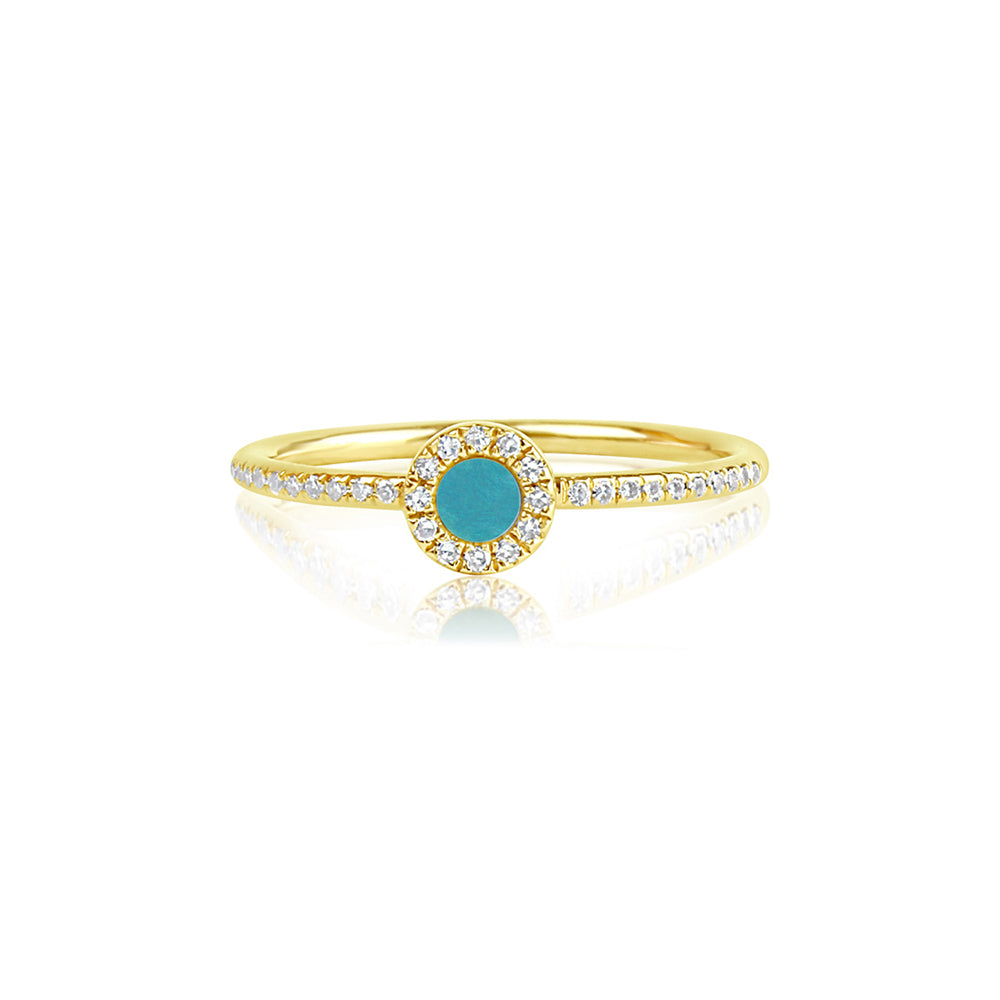 Diamond and Turquoise Disc Ring Yellow Gold
