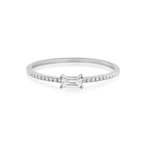 Horizontal Baguette Diamond Ring White Gold