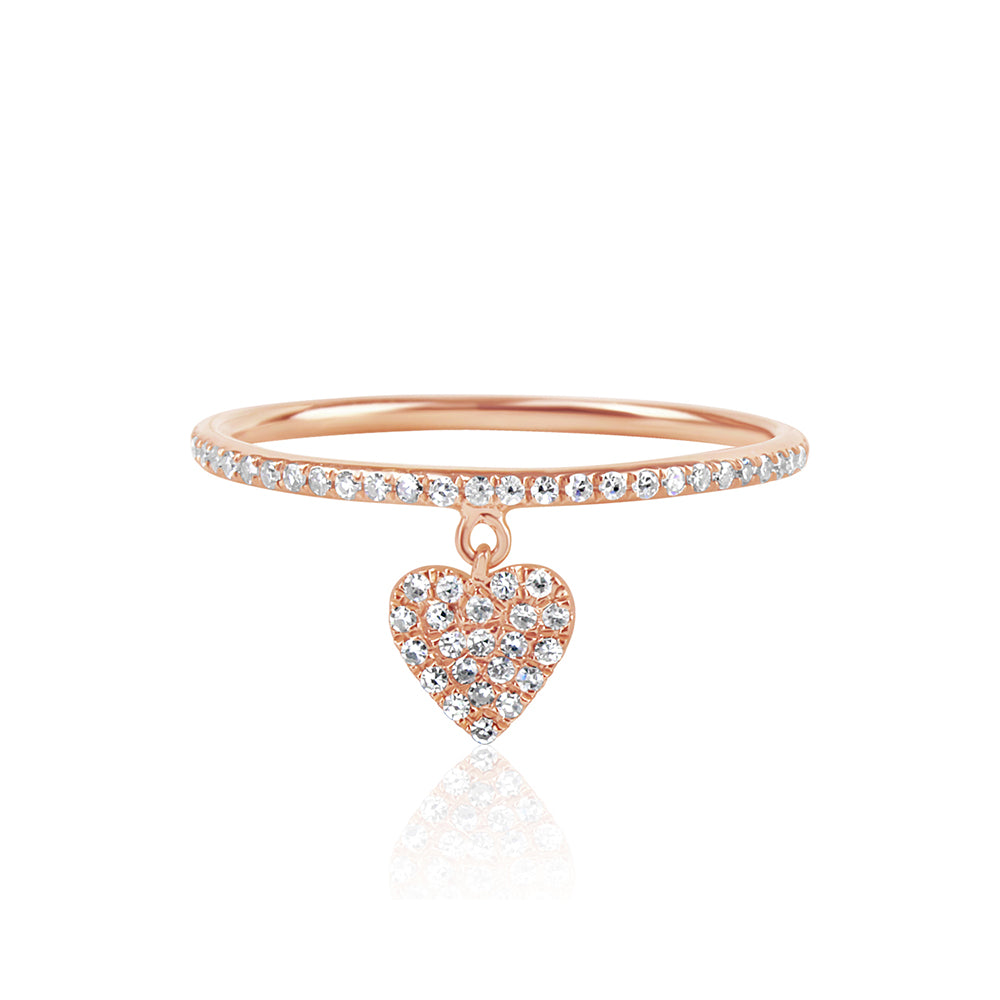 Diamond Heart Tag Ring Rose Gold