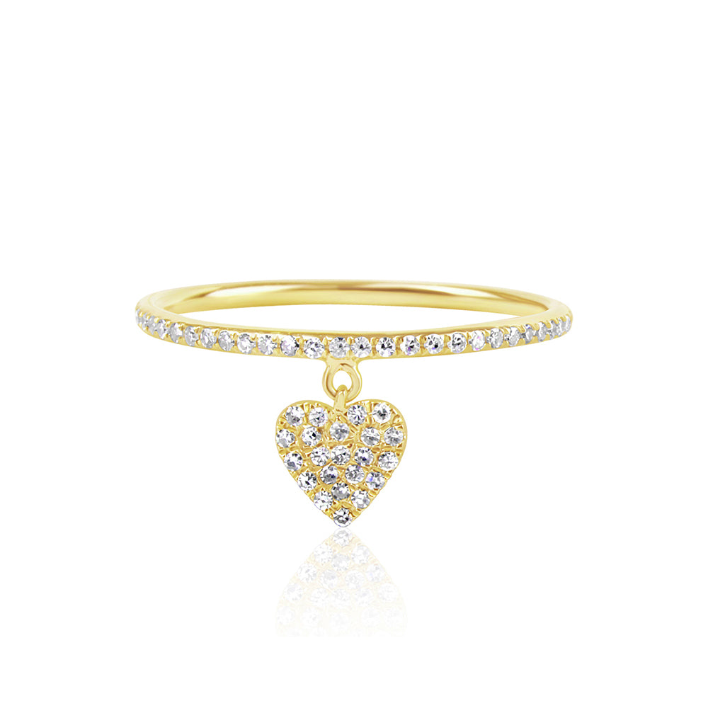 Diamond Heart Tag Ring Yellow Gold