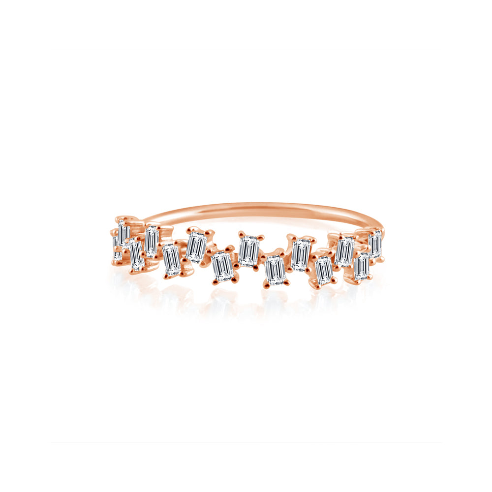 Baguette Diamond Stagger Ring Rose Gold