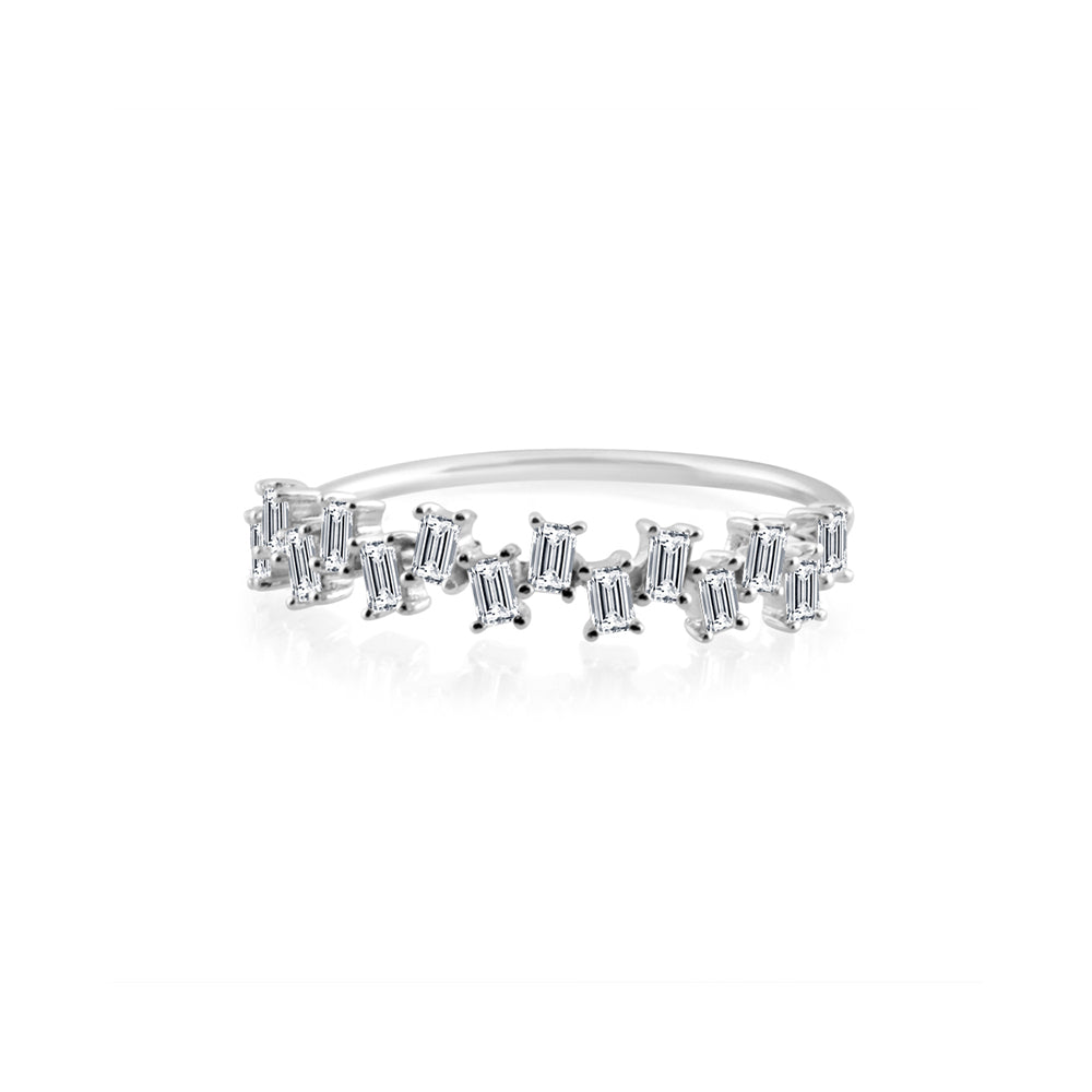 Baguette Diamond Stagger Ring White Gold