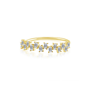 Baguette Diamond Stagger Ring Yellow Gold