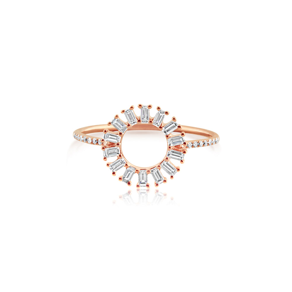 Baguette Diamond Circle Ring Rose Gold