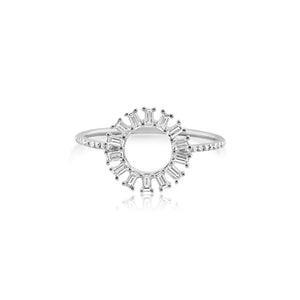 Baguette Diamond Circle Ring White Gold