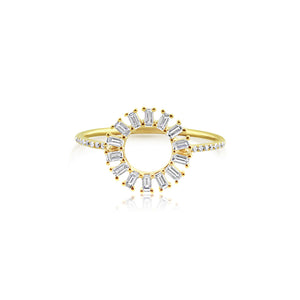 Baguette Diamond Circle Ring Yellow Gold