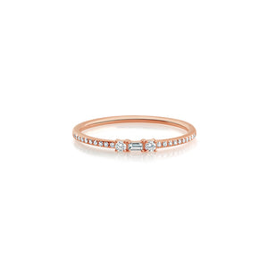 Baguette and Round Diamond Ring Rose Gold
