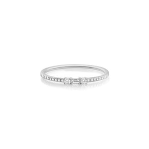 Baguette and Round Diamond Ring White Gold