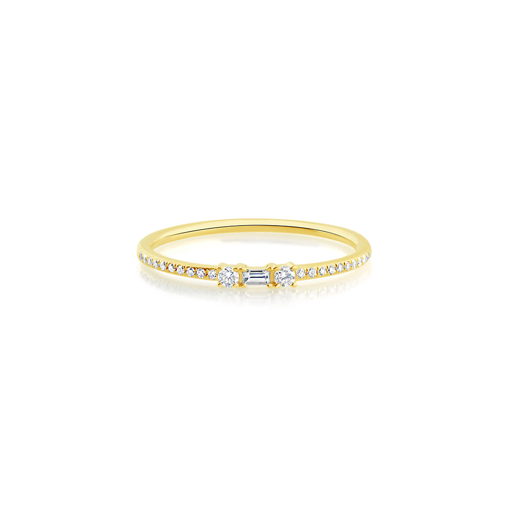 Baguette and Round Diamond Ring Yellow Gold