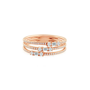 Baguette and Round Diamond Three Band Ring Rose Gold