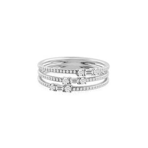 Baguette and Round Diamond Three Band Ring White Gold
