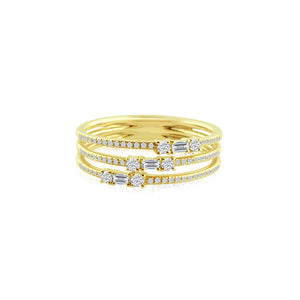 Baguette and Round Diamond Three Band Ring Yellow Gold