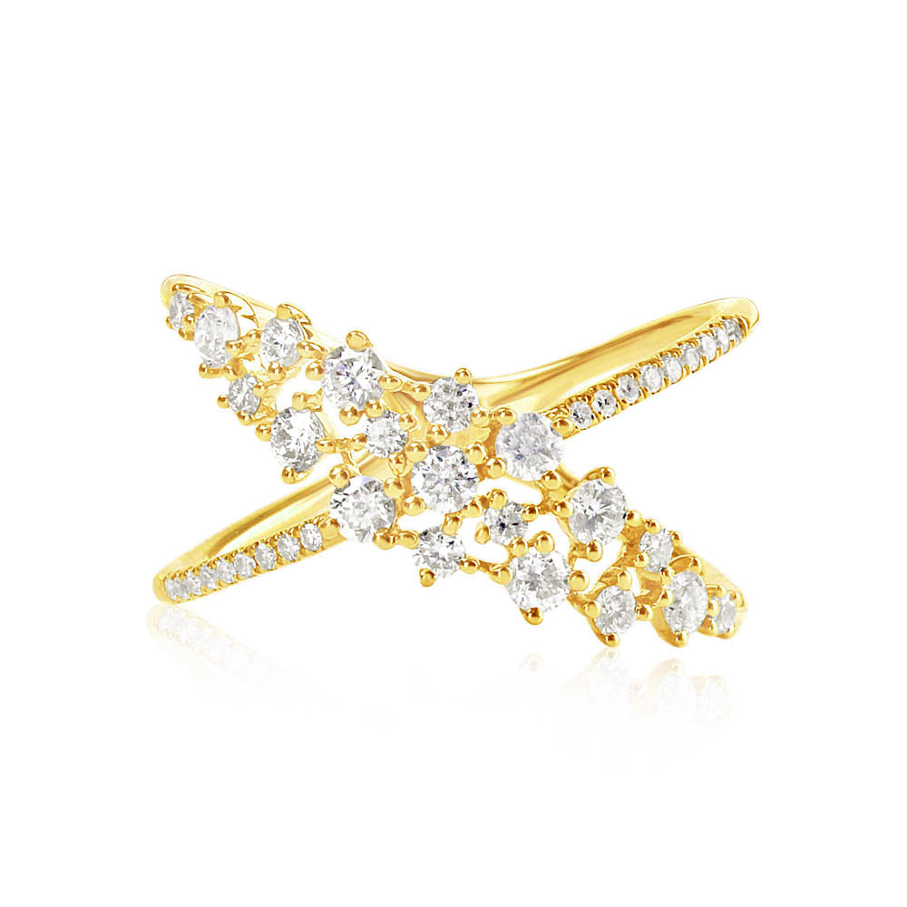 Scattered Diamond X Ring Yellow Gold