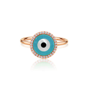 Round Evil Eye Ring Rose Gold