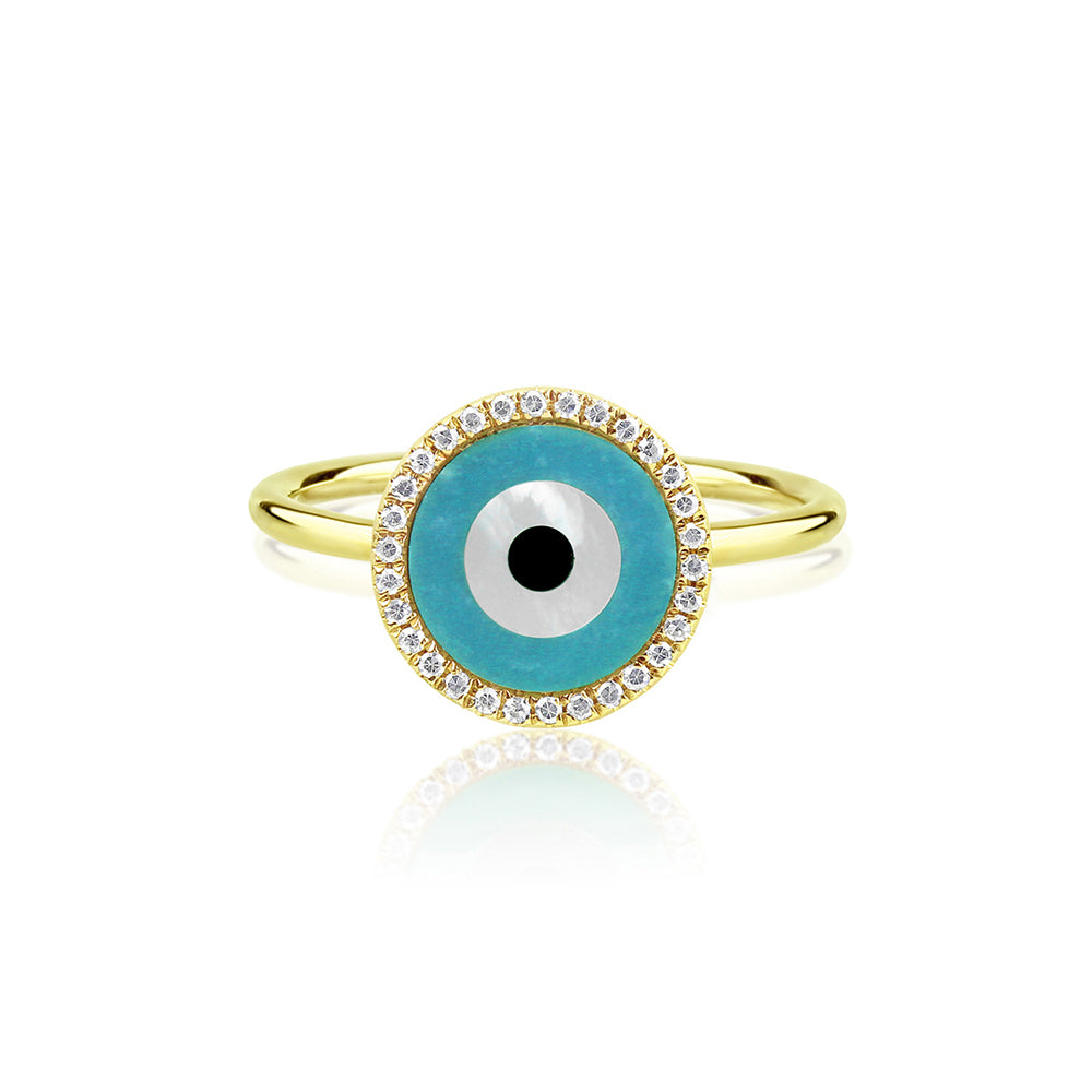 Round Evil Eye Ring Yellow Gold