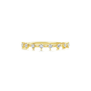 Eight Diamond Segment Ring Yellow Gold