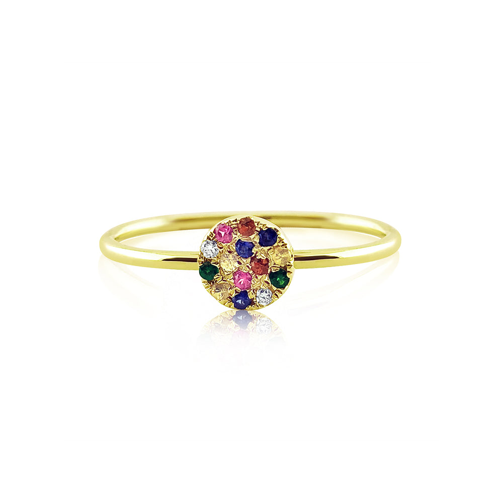 Rainbow Disc Ring Yellow Gold