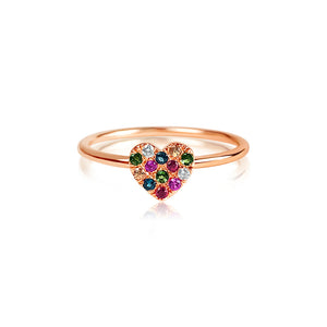 Rainbow Heart Ring Rose Gold