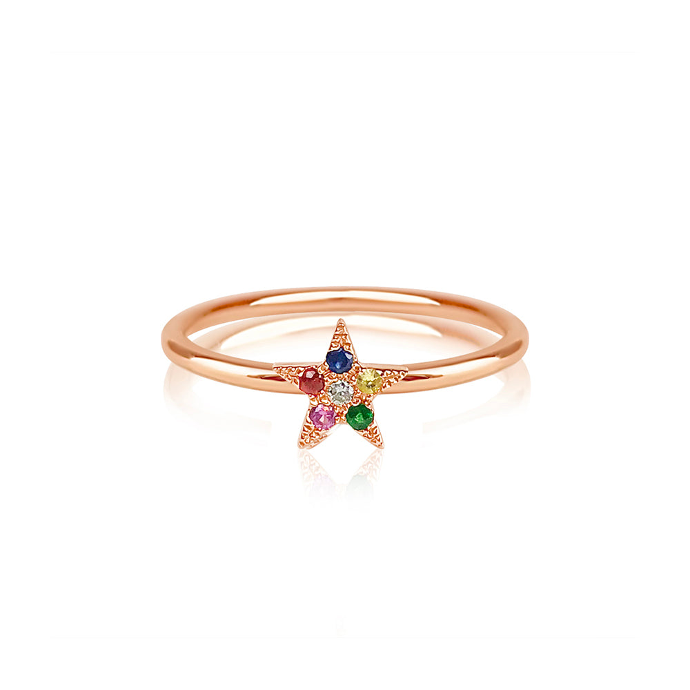 Rainbow Star Ring Rose Gold