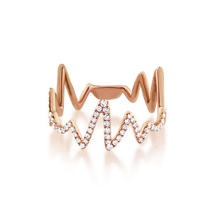 Diamond Heartbeat Ring Rose Gold