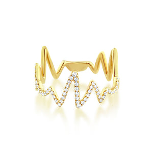 Diamond Heartbeat Ring Yellow Gold