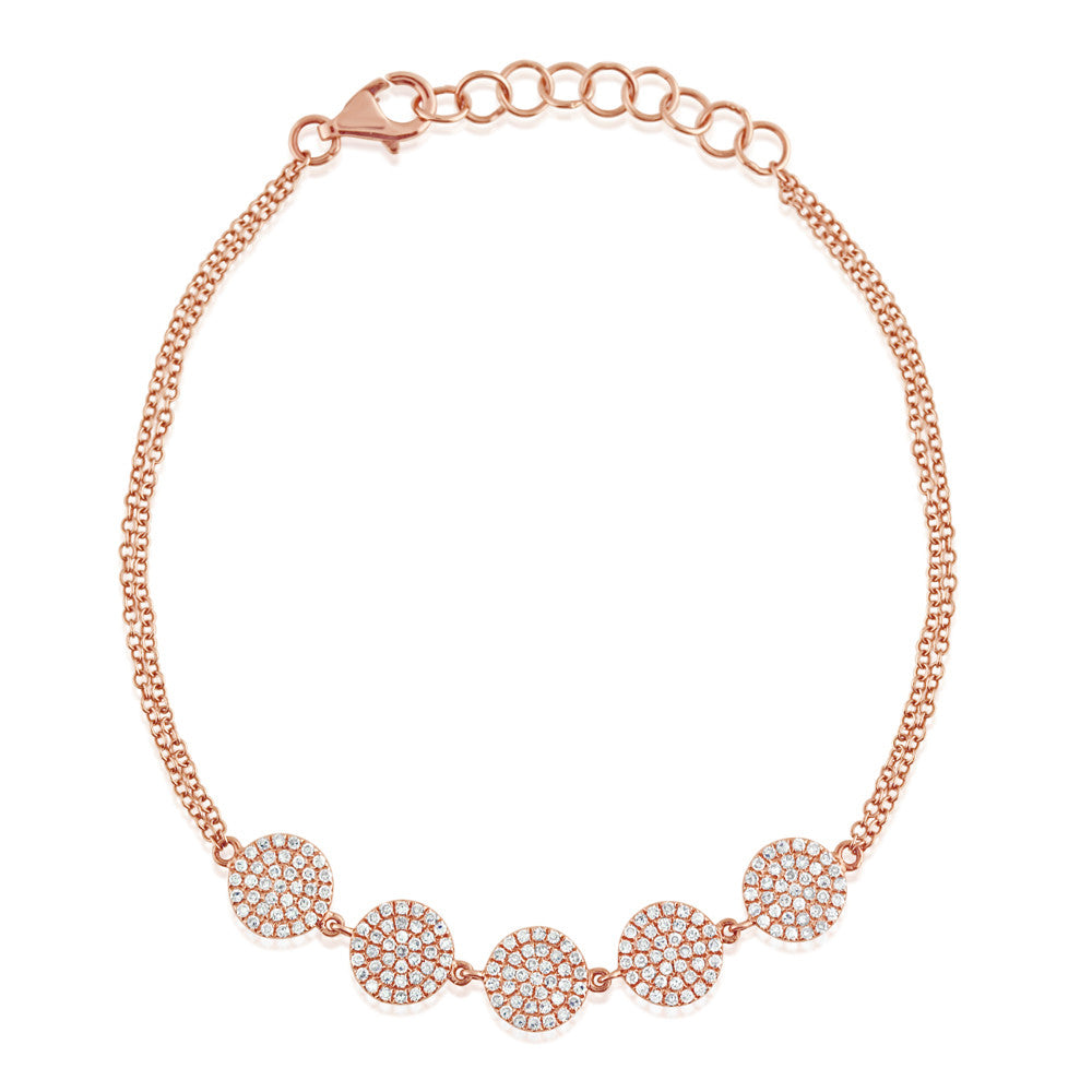 Diamond Disc Bracelet Rose Gold