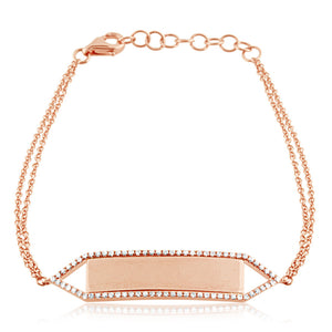 Diamond Nameplate Bracelet Rose Gold