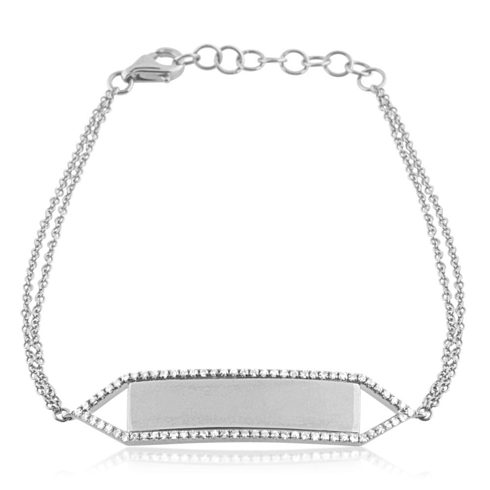 Diamond Nameplate Bracelet White Gold