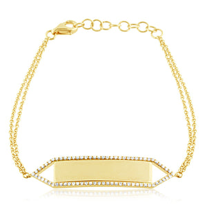 Diamond Nameplate Bracelet Yellow Gold