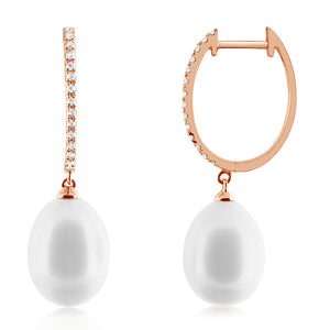 Pearl and Diamond Hoop Earrings Rose Gold