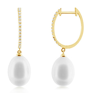 Pearl and Diamond Hoop Earrings Yellow Gold