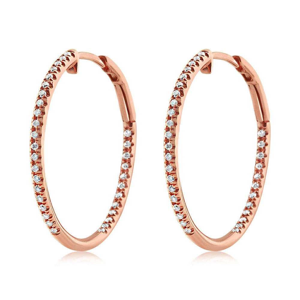 Diamond Hoop Earrings Medium Rose Gold